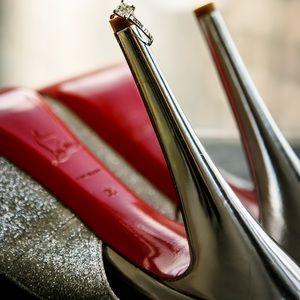 Christian Louboutin Slingback Silver Glitter Shoes
